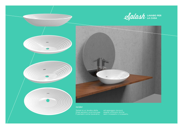 Progetto SPLASH, lavabo da appoggio, Bianca Sangalli Moretti.